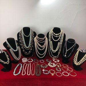Faux Pearls Lot Necklaces And Bracelets